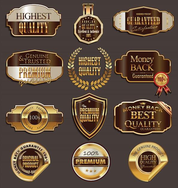 Set De Badges Vectoriels En Or Et Marron Vecteur Premium