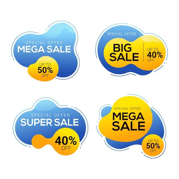 Set de badges de vente avec des formes abstraites de couleur liquide Vecteur Premium