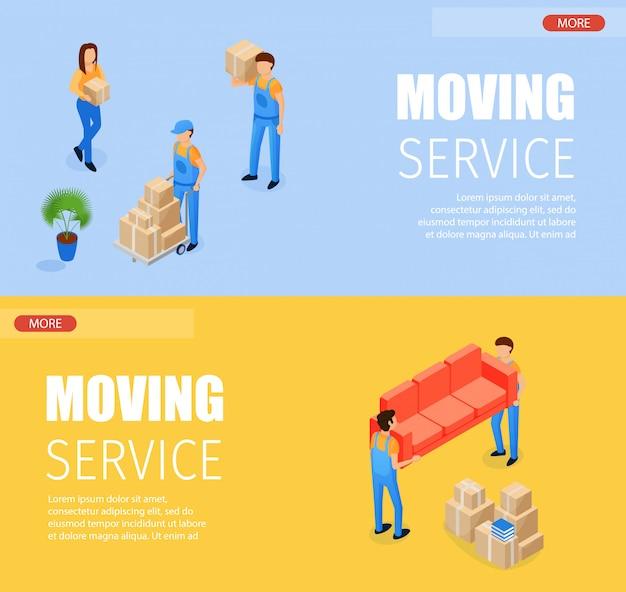 Set Banner Moving Illustration Vectorielle De Service. Chargeurs De Transport Isométriques Horizontaux Vecteur Premium