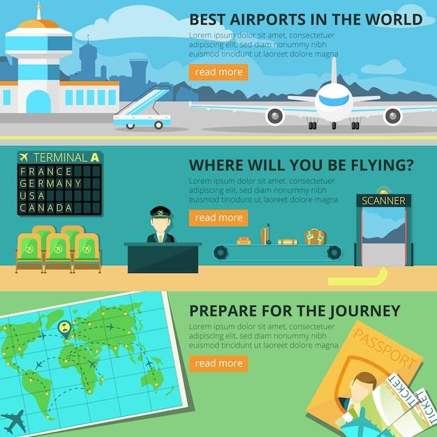 Set de bannière aéroportuaire Vecteur gratuit