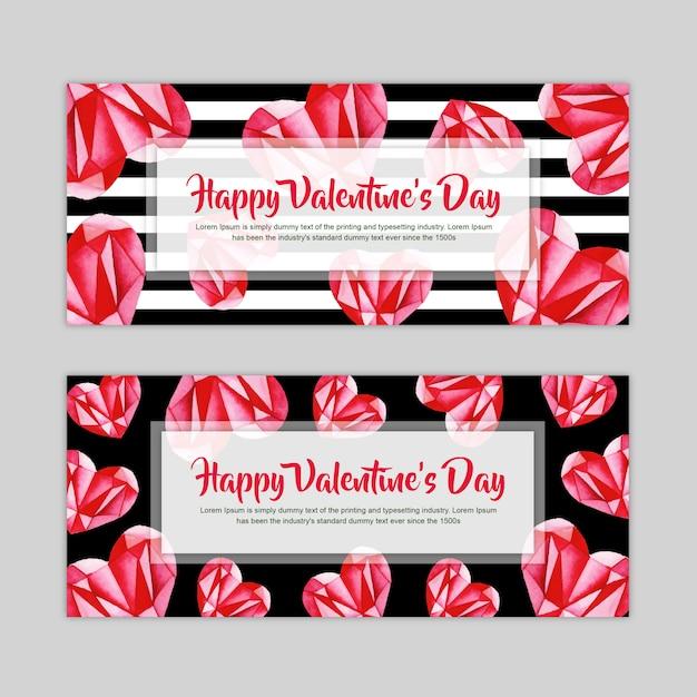 Set de bannière aquarelle valentine Vecteur Premium