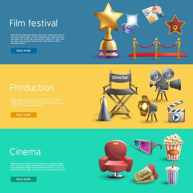 Set de bannière de cinéma Vecteur gratuit