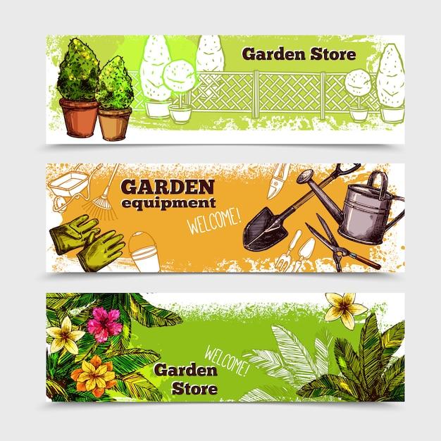 Set de bannière de jardin Vecteur gratuit