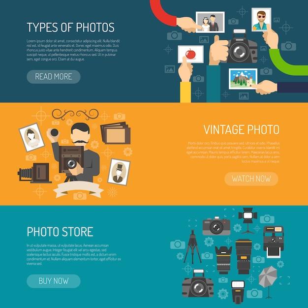 Set de bannière de photographie Vecteur gratuit