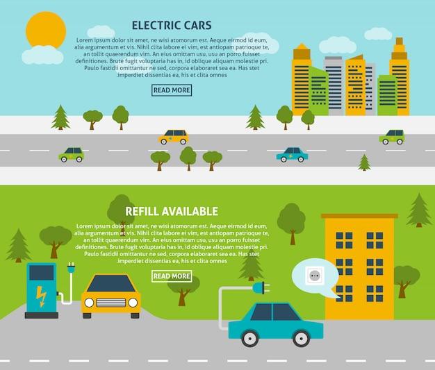 Set de bannière de voiture électrique Vecteur gratuit