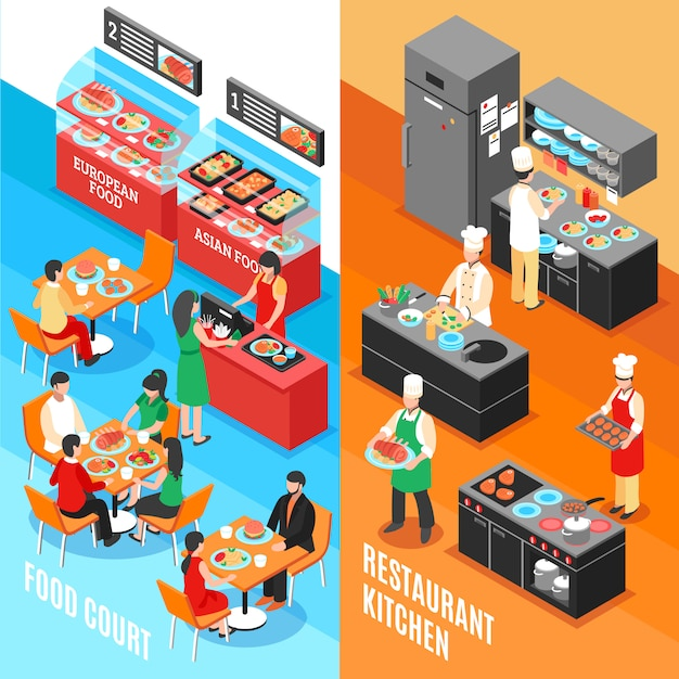 Set de bannières de cuisine fastfood Vecteur gratuit