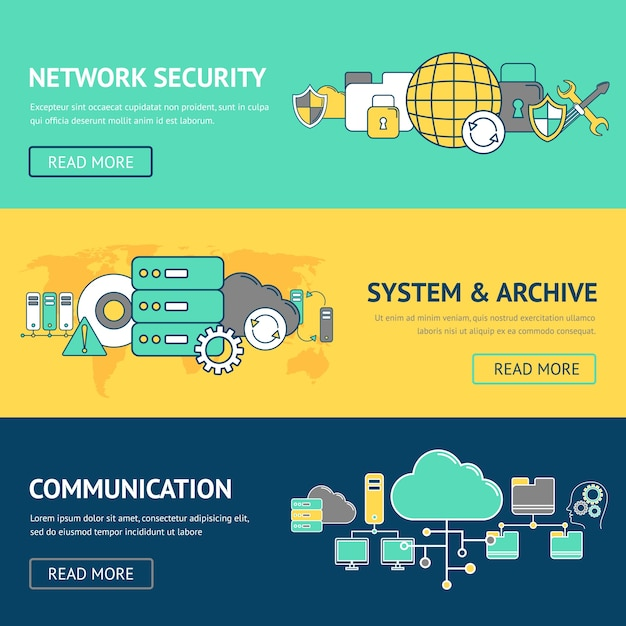 Set de bannières réseau Vecteur gratuit
