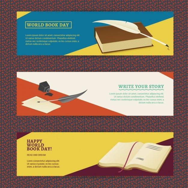 Set Bannières Spéciales Pour La Journée Mondiale Du Livre Vecteur gratuit