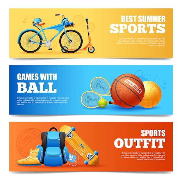 Set de bannières de sports d'été Vecteur gratuit