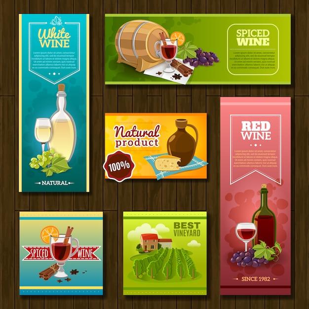 Set de bannières de vin Vecteur gratuit