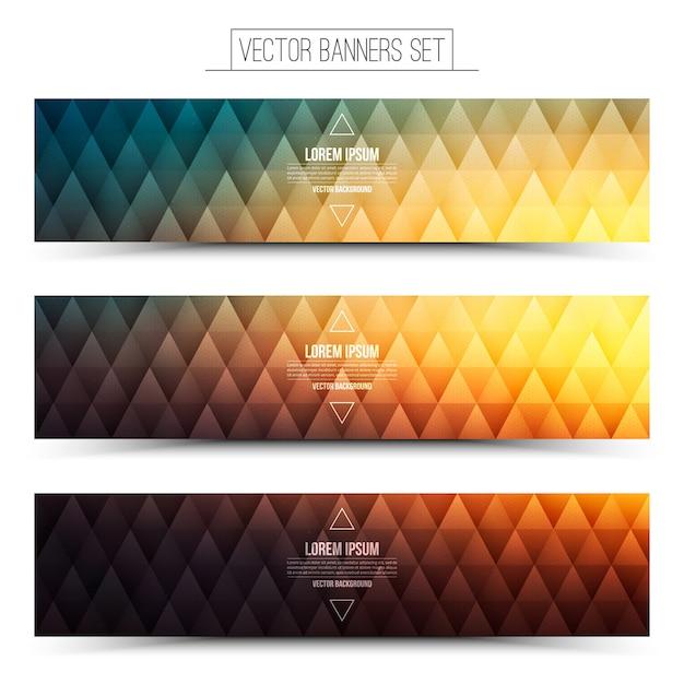 Set de bannières web rétro vector Vecteur Premium