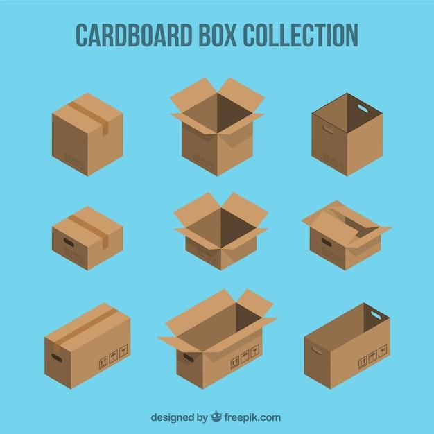 Set de boîtes en carton à l'expédition Vecteur gratuit