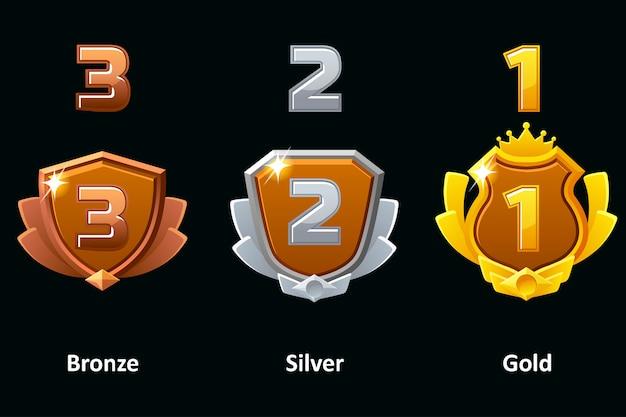 Set Bouclier Argent, Or Et Bronze. Icônes De Réalisation De Prix. éléments Pour Logo, étiquette, Jeu Une Application. Vecteur Premium