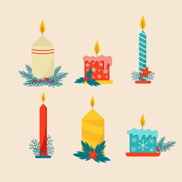 Set de bougies de noël design plat Vecteur gratuit