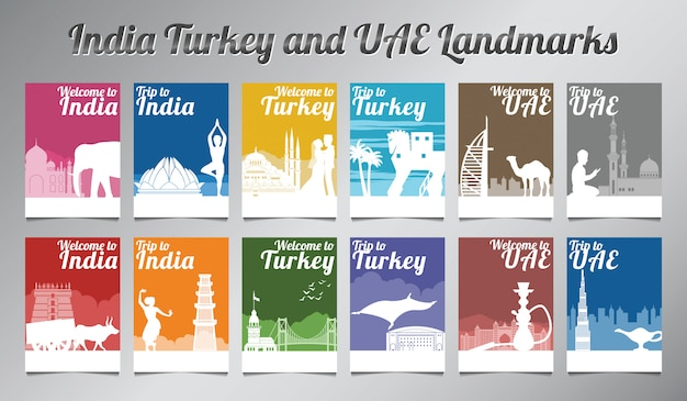 Set De Brochures Inde Turquie Et Eau Vecteur Premium