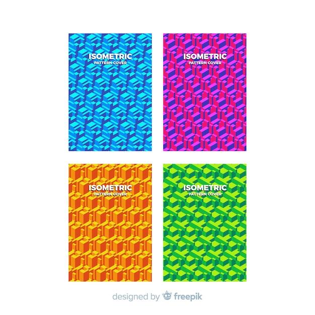 Set de brochures de motif isométrique coloré Vecteur gratuit
