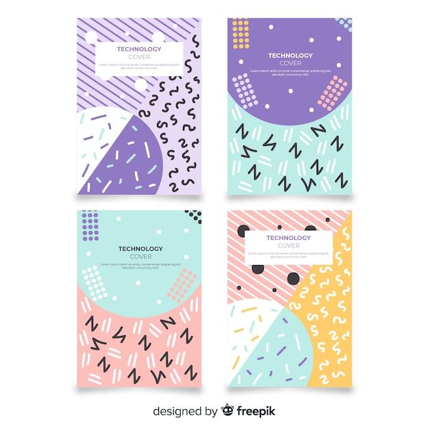 Set de brochures style memphis couleur pastel Vecteur gratuit