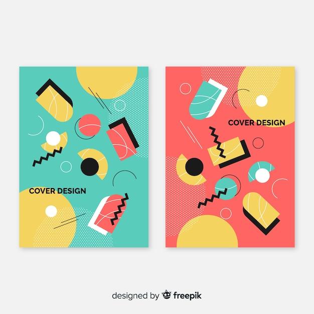Set de brochures style memphis Vecteur gratuit