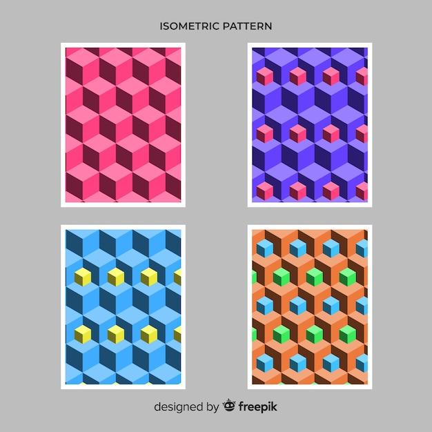 Set de brochures de style polygonal isométrique Vecteur gratuit