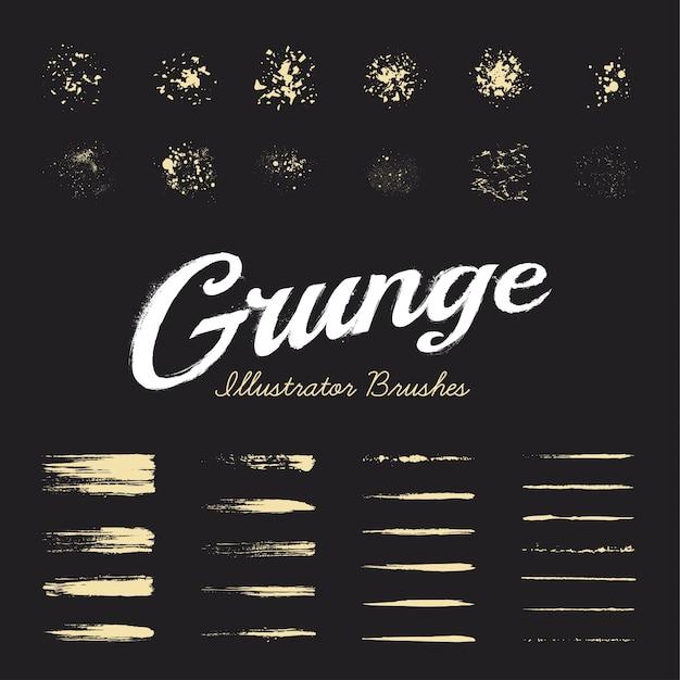 Set De Brosses Grunge Vecteur gratuit