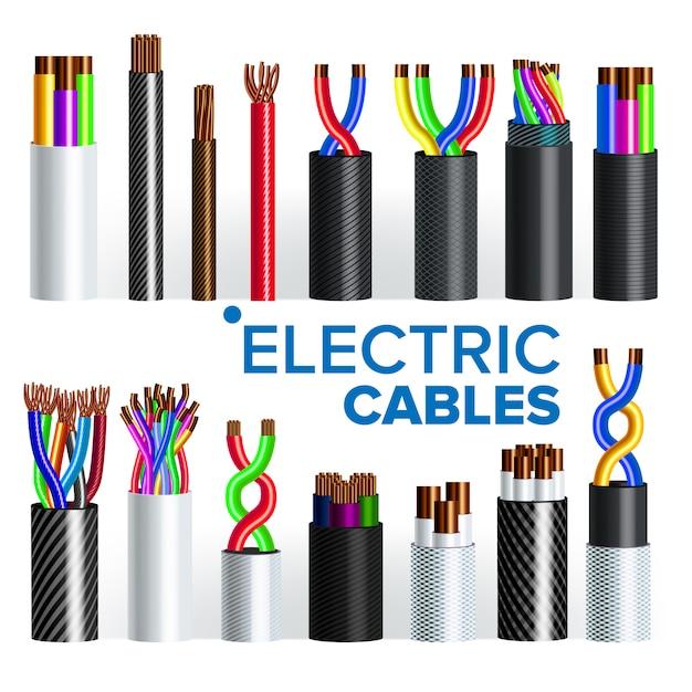 Set De Câbles électriques Vecteur Premium