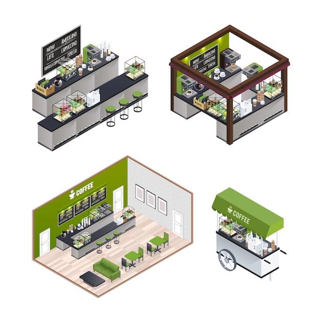 Set De Café Isométrique Vecteur gratuit