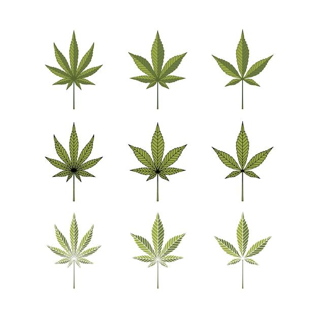 Set cannabis marijuana hemp pot leaf logo logo Vecteur Premium