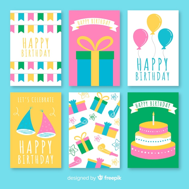 Set de cartes d'anniversaire plat Vecteur gratuit