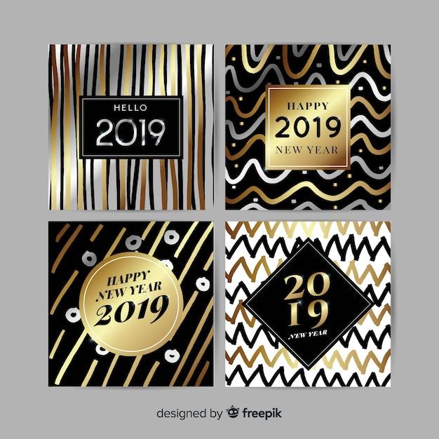 Set de cartes doré et argenté pour le nouvel an 2019 Vecteur gratuit