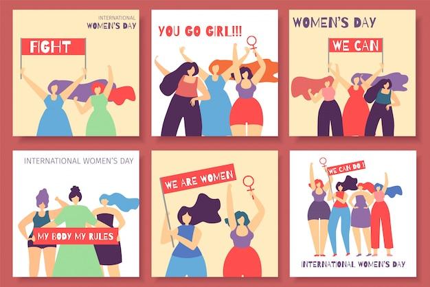 Set de cartes féministes motivate pour la journée internationale de la femme Vecteur Premium
