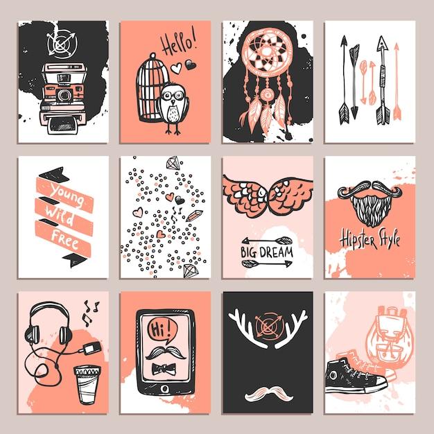 Set de cartes hipster Vecteur gratuit