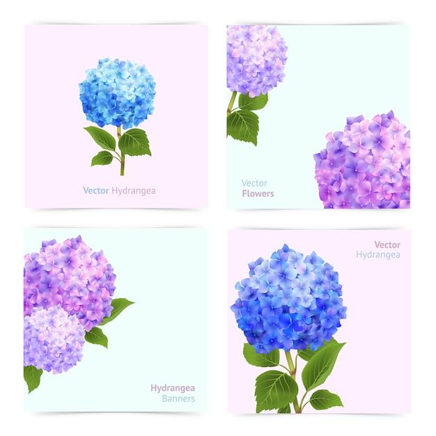 Set de cartes d'hortensia Vecteur gratuit