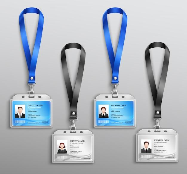 Set de cartes d'identité Vecteur gratuit