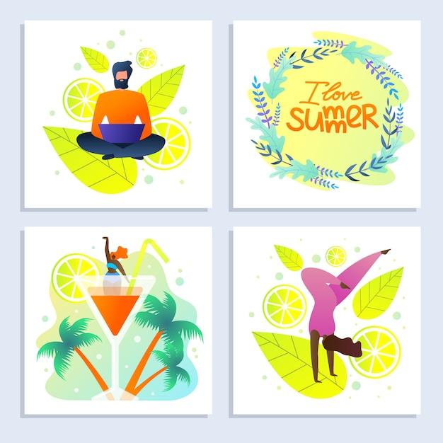 Set de cartes avec inscription i love summer flat Vecteur Premium
