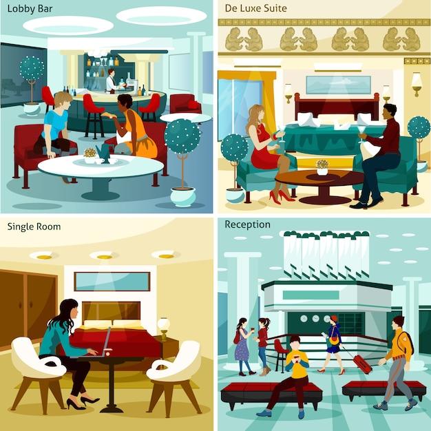 Set de cartes intérieur d'hôtel Vecteur gratuit