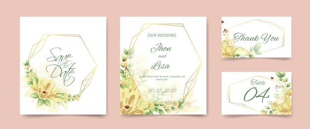 Set de cartes d'invitation de mariage Vecteur Premium