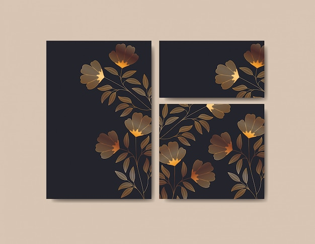 Set de cartes d'invitations avec décoration florale Vecteur gratuit