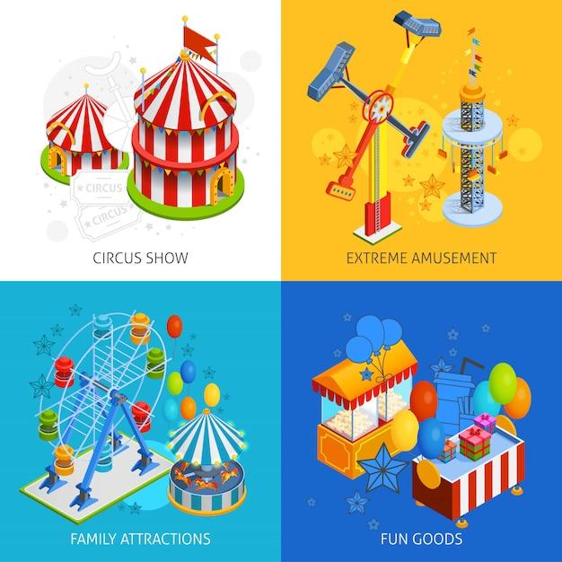 Set de cartes de parc d'attractions Vecteur gratuit
