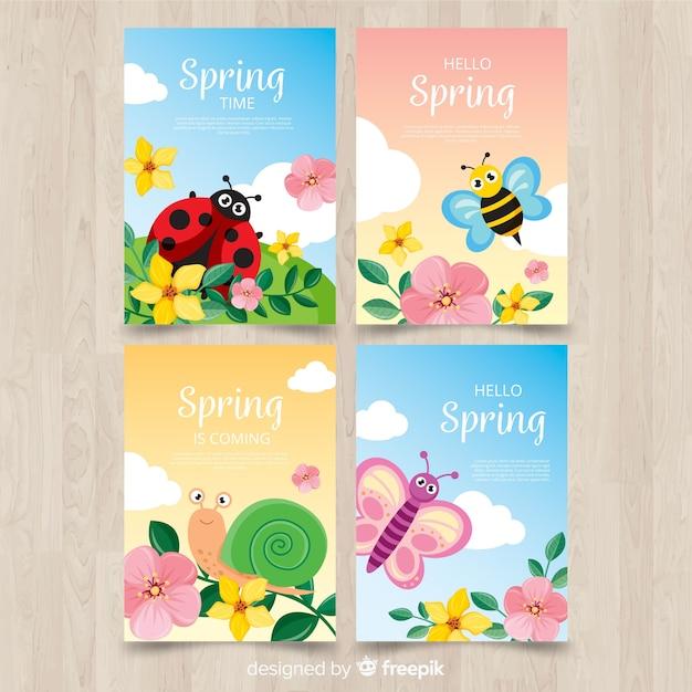 Set de cartes printemps insectes Vecteur gratuit