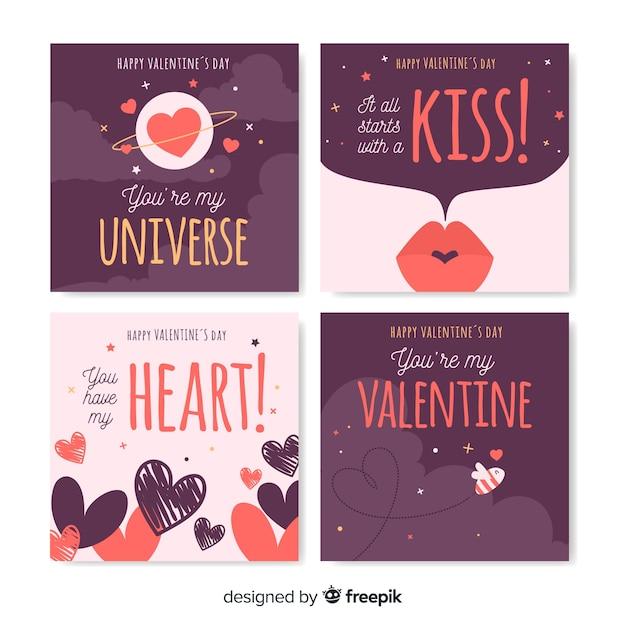 Set de cartes de saint valentin Vecteur gratuit
