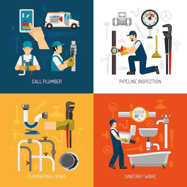 Set De Cartes De Service De Plomberie Vecteur gratuit
