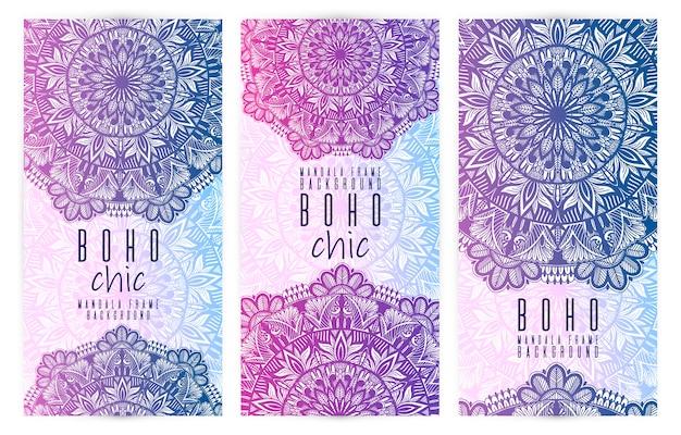 Set de cartes vectorielles mandala vintage Vecteur Premium