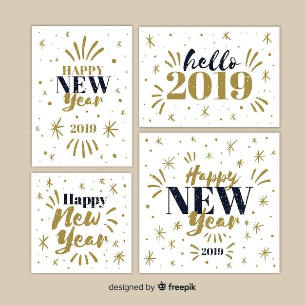 Set De Cartes De Voeux Pour Le Nouvel An 2019 Télécharger