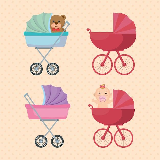 Set de chariots bébé Vecteur gratuit