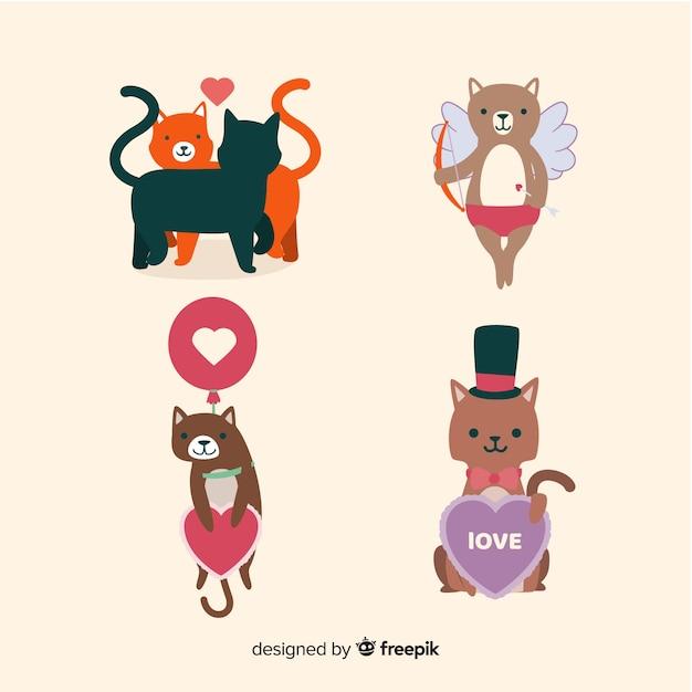 Set de chat saint valentin Vecteur gratuit