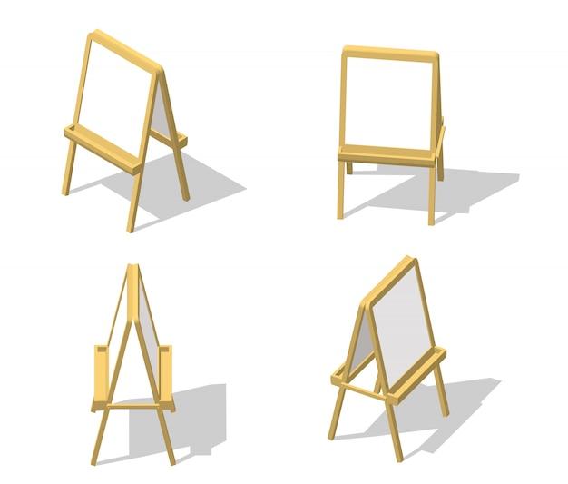 Set chevalet isométrique. dessin tableau blanc. bureau de peinture et papier blanc isolé sur fond blanc. Vecteur Premium