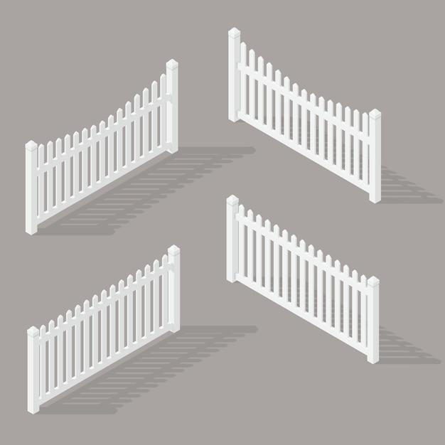 Set de clôture en bois Vecteur Premium