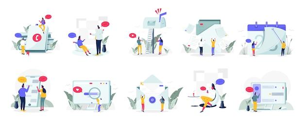 Set de communication et média Vecteur Premium