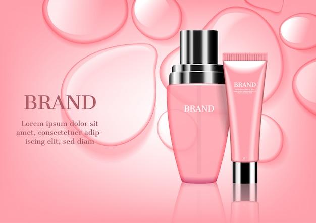 Set de cosmétiques rose avec et gouttes d'eau fond Vecteur Premium