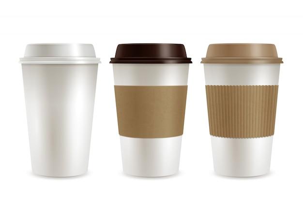 Set de couvercles en plastique café Vecteur gratuit